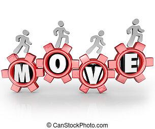 marche, gens fonctionnement, mouvement, mission, collaboration, engrenages