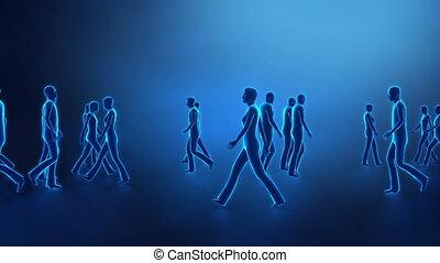 marche, gens, incandescent, couleurs, individus, rayon x