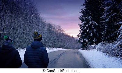 marche, gens, neigeux, bois, coucher soleil, par