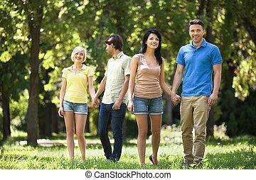 marche, gens, parc, jeune, park., amis, heureux
