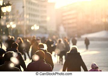 marche, gens, résumé, fond, silhouettes, rue, unrecognizable...