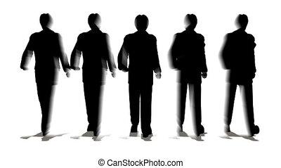 marche, gens, silhouette
