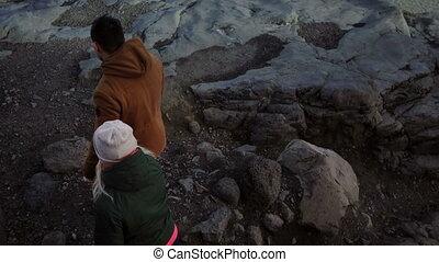 marche, glaciers, vatnajokull, couple, jeune, glace, voir, aller, par, voyager, lagune, montagnes, ensemble.