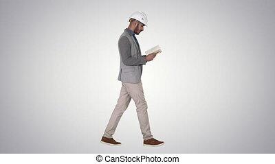 marche, gradient, jeune, manuel, arrière-plan., quoique, cahier, architecte, lecture, ou