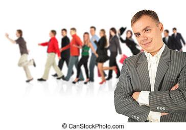 marche, groupe, collage, jeune, complet, homme affaires, rayé