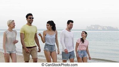 marche, groupe, conversation, gens, communication, jeune, plage, touristes