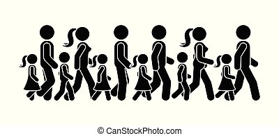 marche, groupe, figure, pictogramme, gens, vecteur, crosse, icône