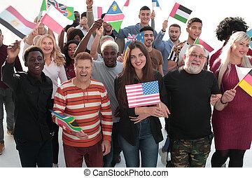 marche, groupe, leur, ensemble, drapeaux, national, gens
