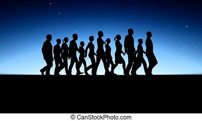 marche, groupe, silhouettes, gens