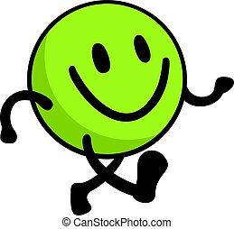 marche, heureux, face verte