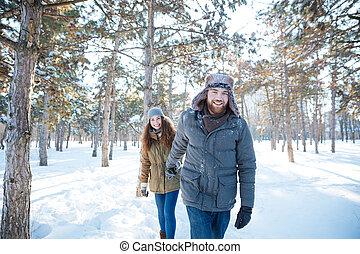 marche, hiver, couple, parc, gai, heureux