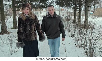 marche, hiver, couple, parc, jeune, heureux