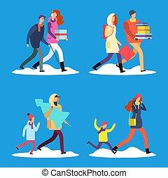marche, hiver, gens, neige, rue, dessin animé