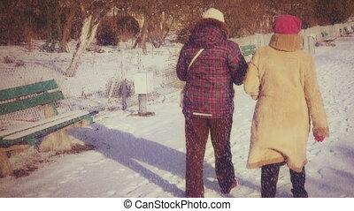 marche, hiver, parc, dos, personnes agées, lentement, jour, femmes