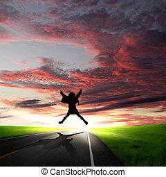 marche homme, loin, à, aube, long, route