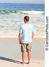 marche, homme, plage, beau