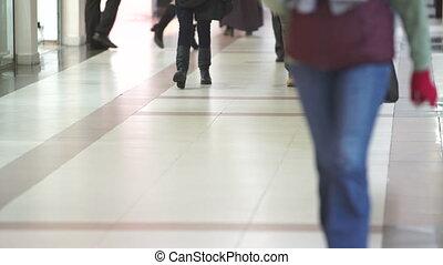 marche, jambes, autour de, magasin, gens