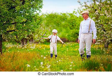 marche, jardin, petit-fils, printemps, papy, par