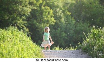 marche, jouet, girl, route