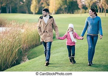 marche, lac, famille, heureux