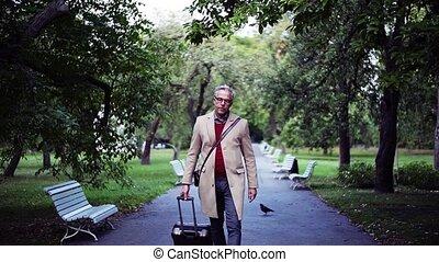 marche, lent, city., motion., parc, mûrir, valise, homme affaires