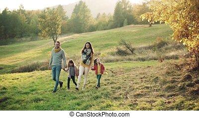 marche, lent, famille, nature., motion., jeune, deux, automne, petits enfants