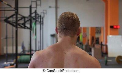 marche, lent, musculaire, mouvement, gymnase, fitness, homme
