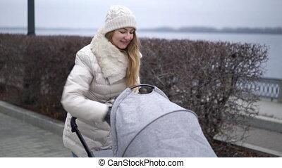 marche, mère, jeune, pram., saison, enfant, automne