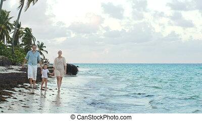 marche, mains, parents, enfant avoirs, long, plage