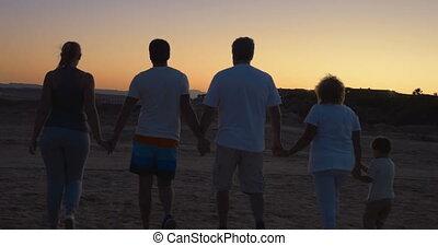 marche, mains, vacances, famille, tenue