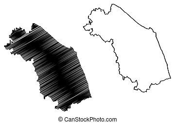 Marche map - Marche (Autonomous region of Italy) map vector...