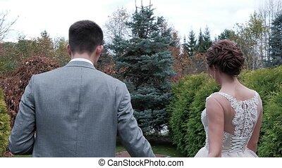 marche, mariée, parc, palefrenier