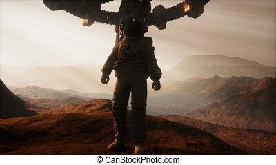 marche, mars, planète, astronaute