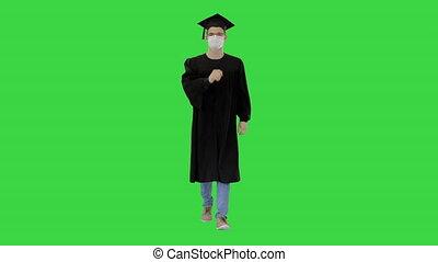 marche, masque, diplômé, étudiant, écran, monde médical, chroma, vert, key.