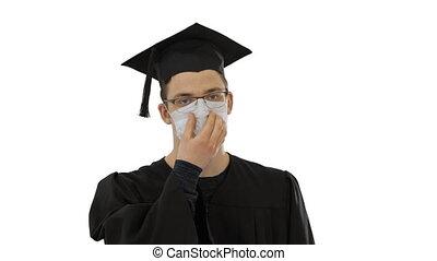 marche, masque, diplômé, arrière-plan., étudiant, blanc, monde médical