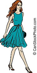 marche, mode, illustration, femme
