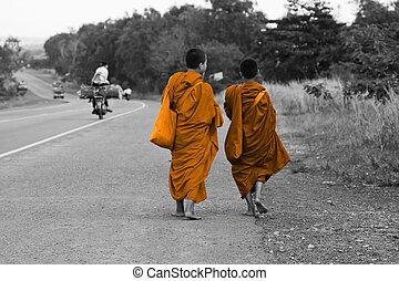 marche, moines, route, cambodgien