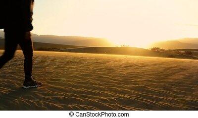 marche, mort, dune, sable, femme, vallée