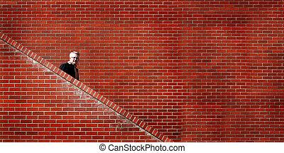 marche, mur, hommes, bas, escaliers brique