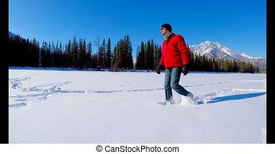 marche, neigeux, paysage, homme, 4k