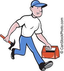marche, ouvrier, charpentier, commerçant, marteau, boîte outils