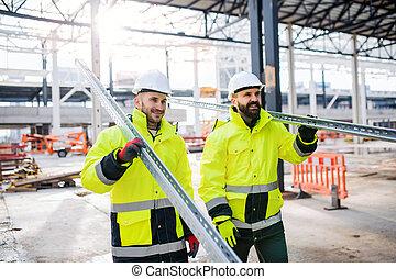 marche, ouvriers construction, working., dehors, site, hommes