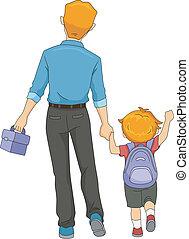 marche, père, école, fils