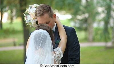 marche, palefrenier, heureux, mariée, park.