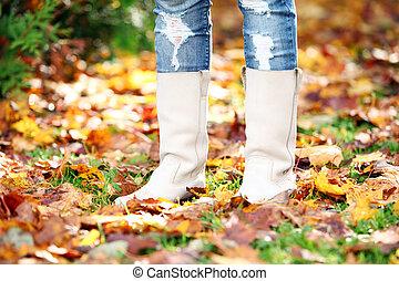 marche, par, les, feuilles automne