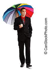 marche, parapluie, désinvolte, coloré, homme