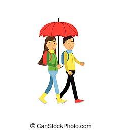 marche, parapluie, deux, illustration, vecteur, sous, amis, rouges