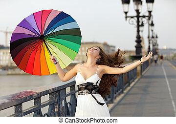 marche, parapluie, femme