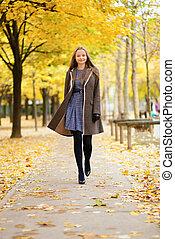 marche, parc, automne, girl, beautful, jour, heureux