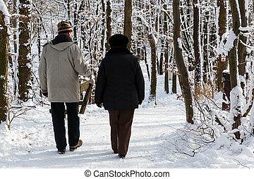 marche, parc, couple, personnes agées